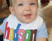 Personalized Bib Appliqued in your choice of colors for baby by Tried and True Designs on Etsy