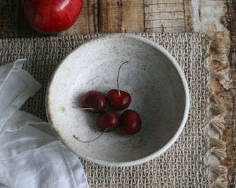 Rustic Bowl in Satin White Glaze Speckled Stoneware Pottery Bowl Handcrafted Made in USA Ready to Ship