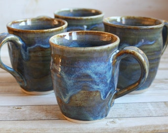 One Rustic Pottery Mug in in Earthy Green and Blue Glazes Handmade Stoneware Coffee Cup Ready to Ship