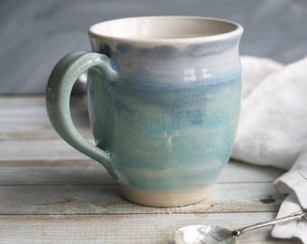 Ceramic Mug White with Soft Shades of Blue Handmade Pottery Coffee Cup Ready to Ship Made in USA