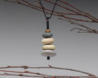 Beach Stone Necklace,Nature Necklace of 4 beach stones , cairn of beach stones,neutrals, meditative, zen, adjustable cord
