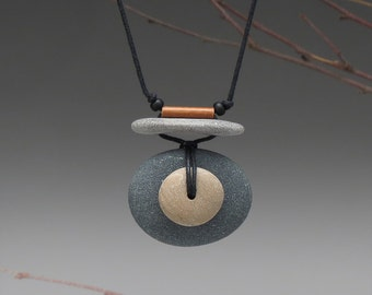 Beach Stone Necklace,Natural stones, a personal talisman for the nature lover, one of a kind