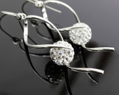 Long Earrings Chandelier  Clear Pave Ball 12mm Rhinestone Swarovski Crystal Sterling Hook Earwires