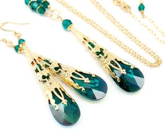 Emerald Jewelry Set, Bridesmaids Bridal Wedding Jewelry Set, Green Gold Steampunk Filigree Victorian Necklace Earrings, Green Jewelry Set