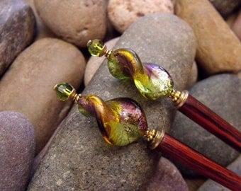 """Glass Hairsticks in Fall Hues of Plum Amethyst, Olive Green, and Amber with Swarovski Olivine Crystals 'Forest Enchanted"""""""
