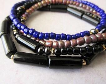 Seed Bead Beaded Bracelet Set , boho , hippie , boemian , stacking , layering
