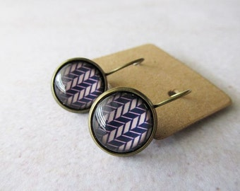 Purple and Pink Chevron Pattern Glass Dome Earrings