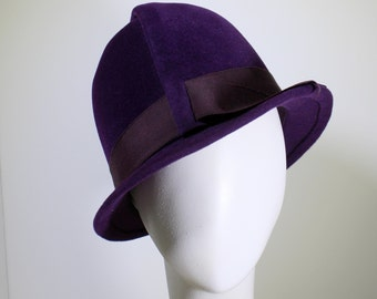 Sculpted Cloche in Aubergine