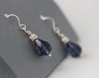 Small dangle earrings, Sapphire drops earrings, sapphire crystals earrings . dangle earrings,  drop earrings.