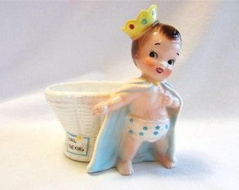Vintage Rubens 1950's Ceramic Hail the King Baby Boy Planter Little Prince Japan Rubens