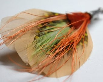"Men's Lapel Pin, Feather Boutonniere, Hat Pin Brooch ""Amicus"" - beige, chartreuse, orange feathers with silver toned pin base"