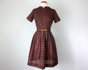 60s rust plaid short sleeve fitted waist pleated skirt belted day dress (xs - s)
