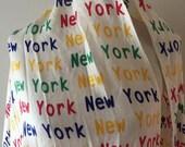 vintage NEW YORK cashmere scarf / vintage typography fringe scarf / free USA shipping