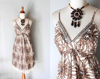 vintage GALAPAGOS sundress /beaded cotton dress