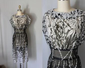 vintage 1970s sheer LONG SHADOW dress
