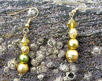 SALE ITEM Gold and Green Bead Earrings