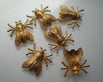6 medium brass flying insect charms
