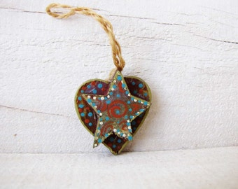 Heart Star Ornament Hand painted Heart Wall Hanging Swirl Dot Red White handmade One of a Kind Mixed Media Ornament #3