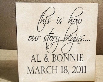 This is How our story begins.....Personalized Bride & Groom's Names and Wedding Date 12x12 Ceramic Tile