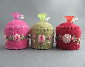 SOLD Mini Pincushions - Hand embroidered Trio of Roses