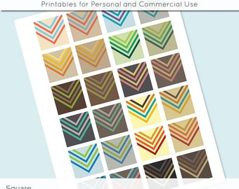 Digital Collage Sheet Retro Chevron Arrows 1x1 Inch Squares and 1.5 Inch Squares for Glass Resin Pendants Charms JPG 1 Inch