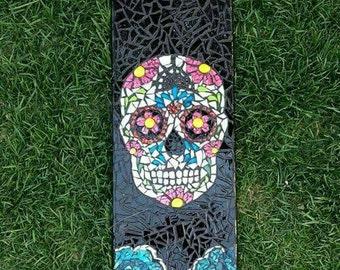 Sugar Skull Mosaic Skateboard Deck Wall Decor.  FREE SHIPPING