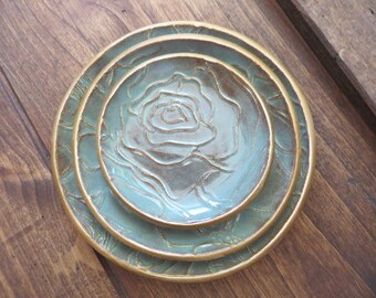 Ring Holder, wedding ring dishes,  set of 3 nesting, Flowers, Roses, Turquoise and Gold, JulieKnowlesPottery, IN STOCK