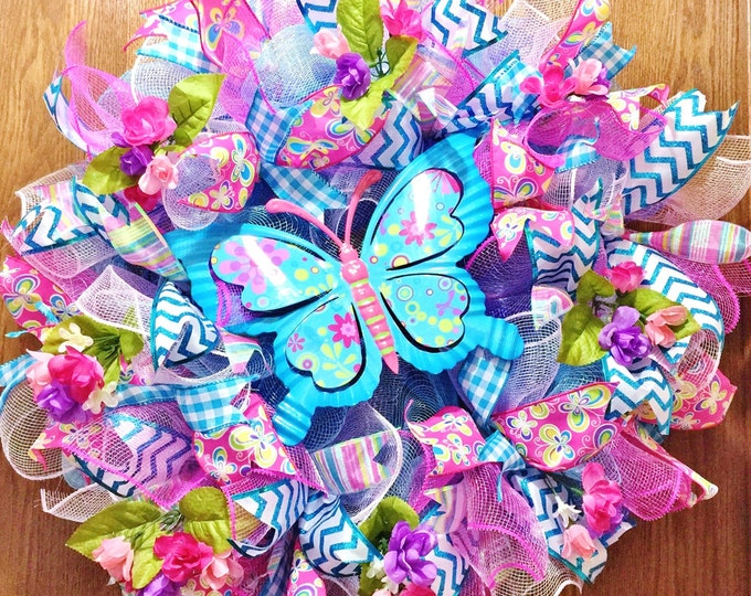 SALE - Blue Butterfly and Flowers - Welcome Door Wreath