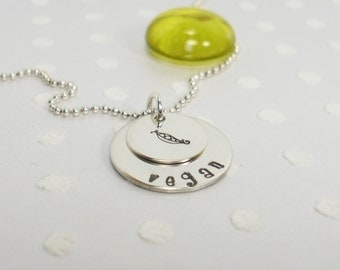 Vegan Vegetarian Pescetarian Herbivore - Veggie Lover - Green Girl - Animal Lover - Hand Stamped Necklace - Silver Charm Necklace