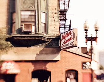 Boston Photography, Architecture Photo, Little Italy, Cafe Photograph, City Urban Chic, Brick Building, North End Boston, Dark Brown and Red
