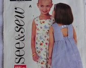 See & Sew 3888 Sewing Pattern, Easy Children's Girls' Dress and Romper, Size 2, 3, 4, 5