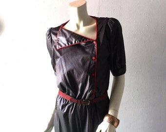 Vintage Black 80s Jumpsuit - sz SM MED Asymmetrical Collar - Cordovan Piping trim - 70s 80s Disco Realness - New Wave Punk Chic - Jump Suit