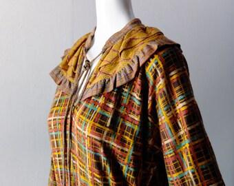 Vintage Diane Freis Watercolor Plaid Dress - Rare Printed Wool Jersey Knit - Size M L 6 8 10 - Autumnal Brown Mustard Plaid Boho Freis Chic