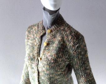 Vintage Jane Irwill Wool Melange Cardigan Sweater - 1950s Designer Real Retro Knit - Pale Dark Mint w/ Silver Metallic Strands - sz M to L