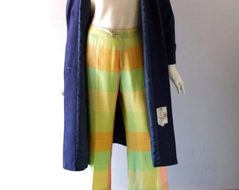 Vintage High Waist Linen Shantung Summer Pants - Sherbet Plaid - Paul Allan Paris Pour Ore - sz 46 US 8 10 12 - Wide Leg Cuffed 1970s Glam
