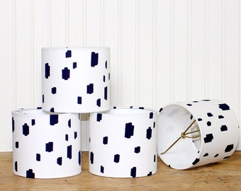 Modern Chandelier Shade - Mini Drum Shade - Lamp Shade - Blue and White - Lampshade - Caitlin Wilson - Dot Lamp Shade - Sconce Shade