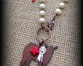 """Rustic Metal Heifer, Steer, Cattle on Boho Style Leather & Chain Necklace Approx 28"""""""