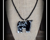 Blue Roan Shorthorn Cattle Pendant With Glass Seed Bead Necklace