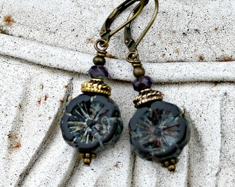 Black Flower Earrings, Bohemian