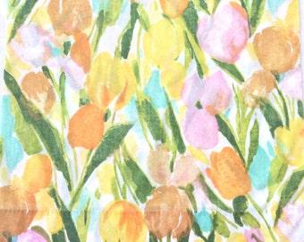 Vintage Sheets Double Set Tulips 4 Pieces