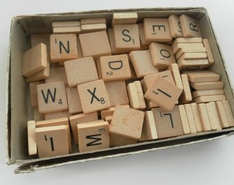 50 Scrabble Tiles vintage for crafts jewelry pendants mixed media