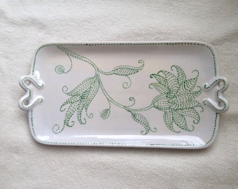 Vintage Handpainted Numbered Portugal European Art Pottery Handled Serving Tray Tulips