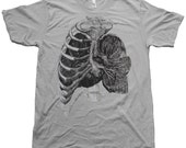 Mens TShirt - Rib Cage and Lungs - Natural History American Apparel Screen Print