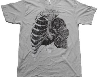 Mens TShirt - Rib Cage and Lungs - Natural History Screen Print