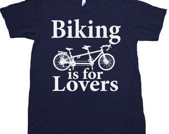 Mens Biking is for Lovers - Tandem Bicycle TShirt - Navy Blue - Available in xs, s, m, l, xl and xxl - Bike Shirt
