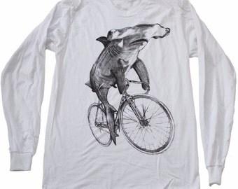 Hammerhead on a Bike- Mens Long Sleeve T Shirt, Unisex Tee, Cotton Tee, Handmade graphic tee, Bicycle shirt, Bike Tee, sizes xs-xxl