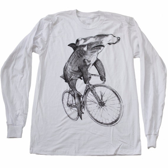 unisex HAMMERHEAD shark LONGSLEEVE white american apparel t-shirt - S M L Xl xxl