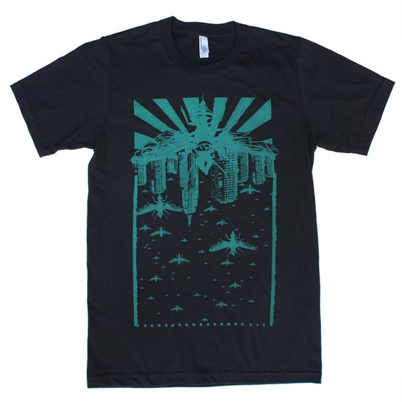 Wasp City Teal - Punk rock apolcalyptic cityscape - Black American Apparel TShirt - Available in XS, S, M, L and Xl