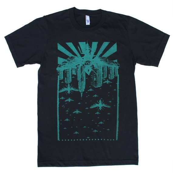 Wasp City Teal - Punk rock apocalyptic cityscape - Black T Shirt - Available in XS, S, M, L and Xl