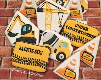 One Dozen Construction Personalized Birthday Cookies